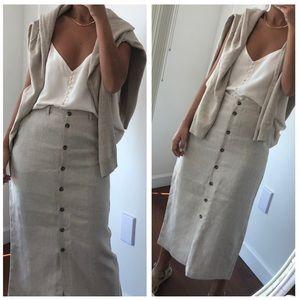 Vintage Jones New York linen button front skirt